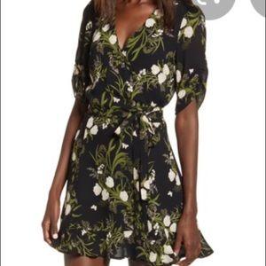 Refund floral wrap Monica dress black print
